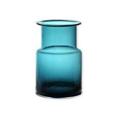 Vase bleu turquoise en verre soufflé bouche 20cm