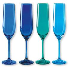 Flûtes à champagne en verre bleu 19cl - Lot de 4