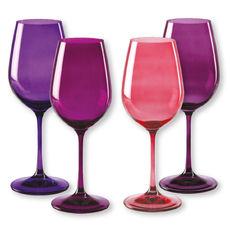 Verres à vin en verre rose 35cl - Lot de 4