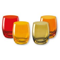 Gobelets bas en verre jaune 30cl - Lot de 4
