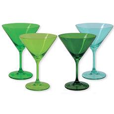 Verres à cocktail en verre vert 35cl - Lot de 4