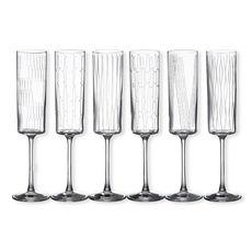 Flûtes à champagne motifs assortis 17cl - Lot de 6