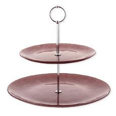 Serviteur à gâteaux 2 étages en verre rose 24cm
