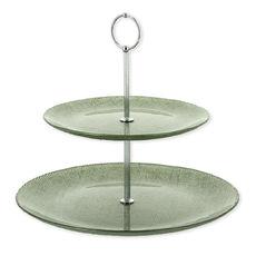 Serviteur à gâteaux 2 étages en verre vert 24cm