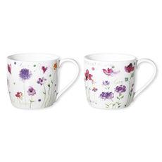 Mugs à fleurs en porcelaine fine 30cl - Coffret de 6