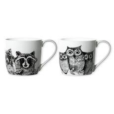 Mugs animaux en porcelaine fine 30cl - Coffret de 6