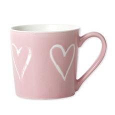 Mug rose en porcelaine décor coeur 35cl