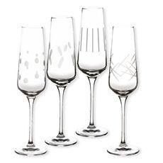 Flûtes à champagne taillées 18cl - Coffret de 4