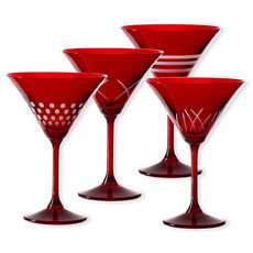 Verres à cocktail taillés couleur rouge 15cl - Lot de 4