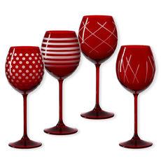 Verres à vin taillés couleur rouge 35cl - Lot de 4
