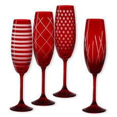 Flûtes à champagne taillées couleur rouge 20cl - Lot de 4