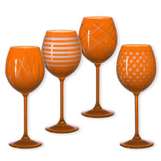 Verres à vin taillés couleur orange 35cl - Lot de 4