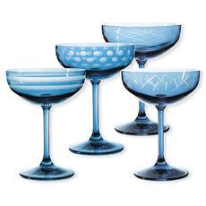 Coupes à champagne taillées couleur bleu 20cl - Lot de 4