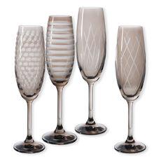 Flûtes à champagne taillées couleur taupe 20cl - Lot de 4