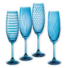 Flûtes à champagne taillées couleur bleu 20cl - Lot de 4