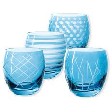 Gobelets bas taillés couleur bleu 30cl - Lot de 4