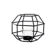 Bougeoir octogonal en métal noir 16cm