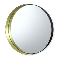 Miroir rond en métal couleur or 31cm