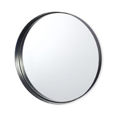 Miroir rond en métal couleur argent 36cm