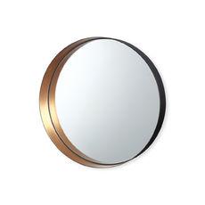 Miroir rond en métal couleur cuivre 26cm