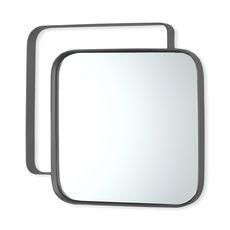 Miroir carré en métal couleur argent 31cm