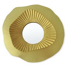 Miroir rond forme fleur en métal couleur or 36x33cm
