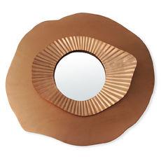 Miroir rond forme fleur en métal couleur cuivre 36x33cm