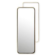 Miroir rectangulaire en métal couleur or 51x24cm
