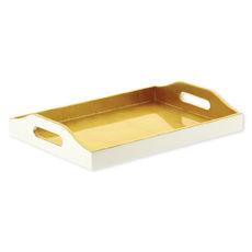 Plateau de service rectangulaire en bois couleur or 40x30cm