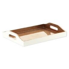 Plateau de service rectangle en bois couleur cuivre 40x30cm