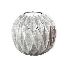 Bougeoir origami en métal couleur argent 9cm