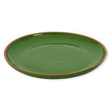 Plat rond plat vert en terre cuite 38cm