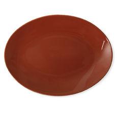 Plat ovale en grès brique 36x27cm