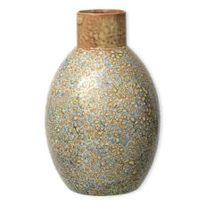Vase bleu et ocre en céramique 33cm