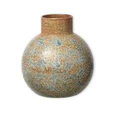 Vase bleu et ocre en céramique 23cm