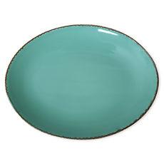 Plat ovale en grès bleu turquoise 36x27cm
