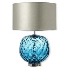 Lampe en verre bleu avec abat-jour argent 49cm