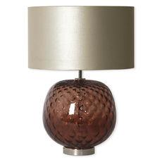 Lampe en verre chocolat avec abat-jour 49cm