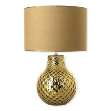 Lampe en verre doré avec abat-jour 57cm