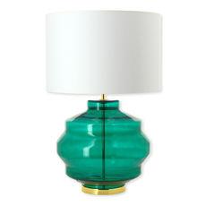 Lampe en verre vert émeraude avec abat-jour 58cm