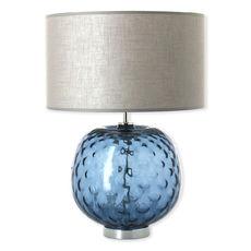 Lampe en verre bleu marine avec abat-jour 49cm